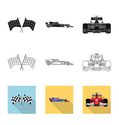 Design of car and rally symbol collection vector