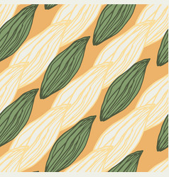 Diagonal floral leaves elements seamless pattern vector