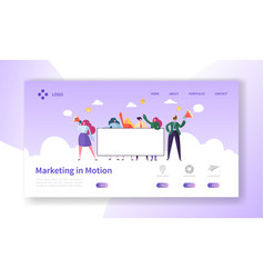 digital advertising team holding blank banner vector image