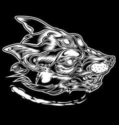 drawing head fox alone tattoo cigar vector image