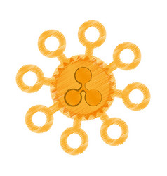 drawing ripple coin web icon vector image