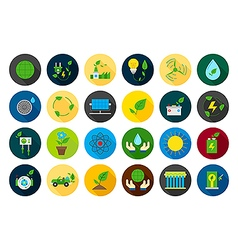 Eco round icons set vector image vector image