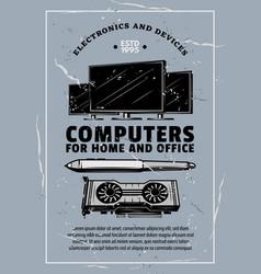 Electronic device retro banner computer gadget vector