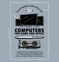Electronic device retro banner of computer gadget vector