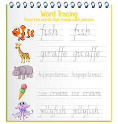 English alphabet tracing worksheets vector
