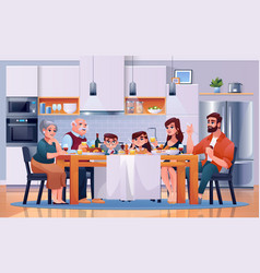 family dinner at kitchen table eat food together vector image
