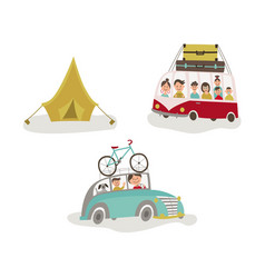 family traveling by car bus and camping tent vector image