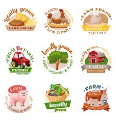 Farm flat emblem set vector