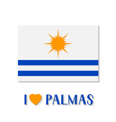 Flag palmas and lettering with heart the vector