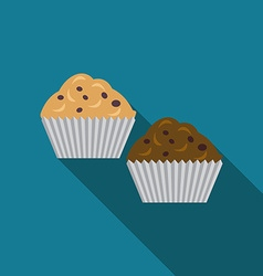Flat design muffins icon with long shadowFlat vector image