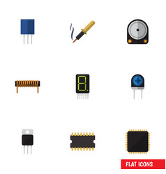 Flat icon electronics set of receptacle hdd cpu vector
