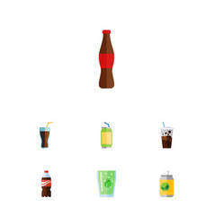 Flat icon soda set of bottle cup beverage and vector