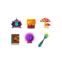 flat set magic items crystal ball vector image