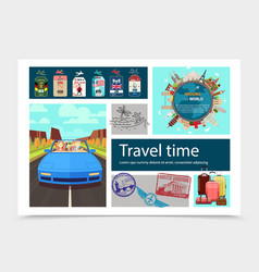 flat travel time composition vector image
