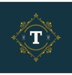 Flourishes calligraphic monogram emblem template vector