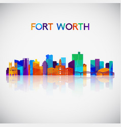 fort worth skyline silhouette vector image