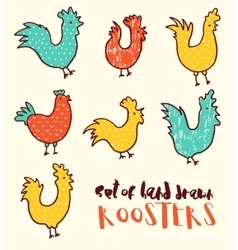 Funny doodle roosters drawn vector