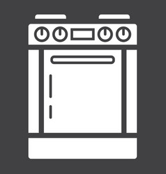 Gas stove solid icon kitchen and appliance vector