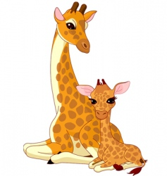 Giraffe and baby giraffe vector