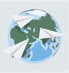 globe and paper planes in flat style vector image