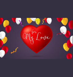 Greeting romantic greeting card with big red vector
