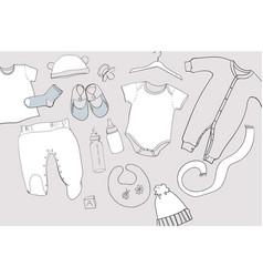 Hand drawn baby clothes flat lay vector
