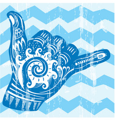 hang loose hand signal vector image