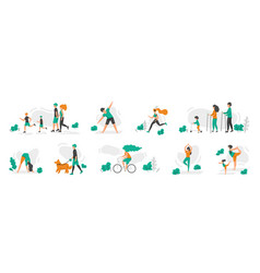 healthy family people doing sport exercises men vector image