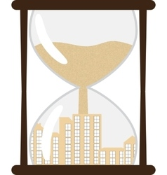 Hourglass with town inside vector
