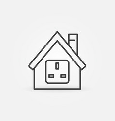 House with us socket outline icon vector