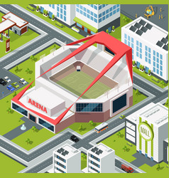 Isometric urban landscape with modern building of vector