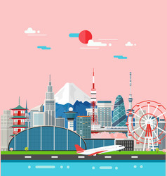 Japan buildings travel place and landmark vector