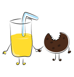 juice and cookie on white background vector image