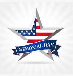 memorial day 2021 facet star and ribbon vector image
