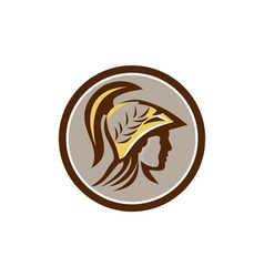 Minerva Head Helmet Circle Retro vector