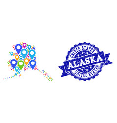 Mosaic map of alaska state with map markers and vector