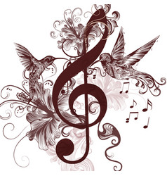 Music background with treble clef hummingbirds vector