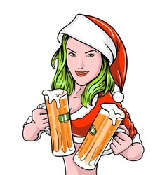 New Year Girl Beer vector image