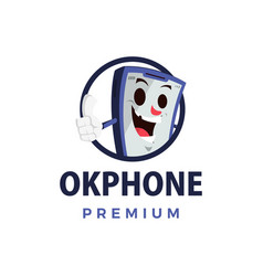 ok phone thump up mascot character logo icon vector image