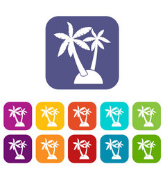 Palm trees icons set vector