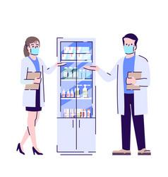 Pharmacy in coronavirus pandemic flat isolated vector
