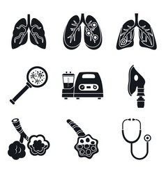 pneumonia day icon set simple style vector image