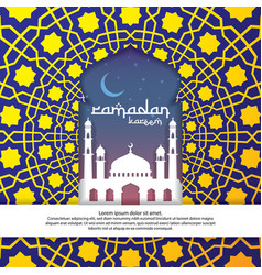 ramadan kareem islamic greeting with mosque and vector image