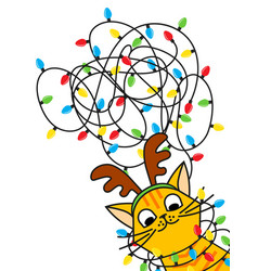 Red cat tangled christmas lights in christmas deer vector