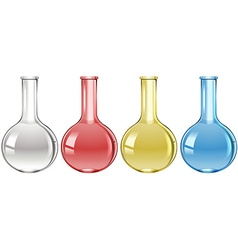 Science flasks in four colours vector image