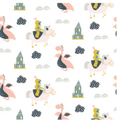 Seamless pattern with tale knights and vector
