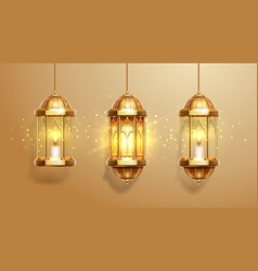 set isolated eastern lanterns or fanous fanoos vector image