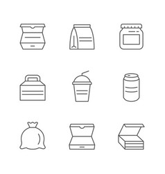 Set line icons food packaging vector
