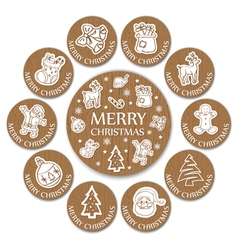 Set of 11 christmas wooden round card vector image
