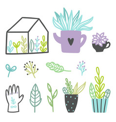 Set of cute plants vector